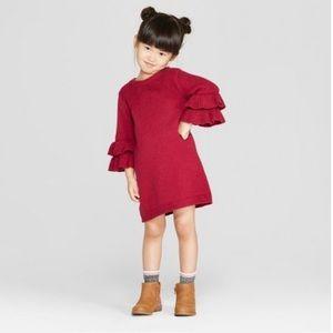 Toddler Girls Ruffle Bell Sleeve Sweater Dress